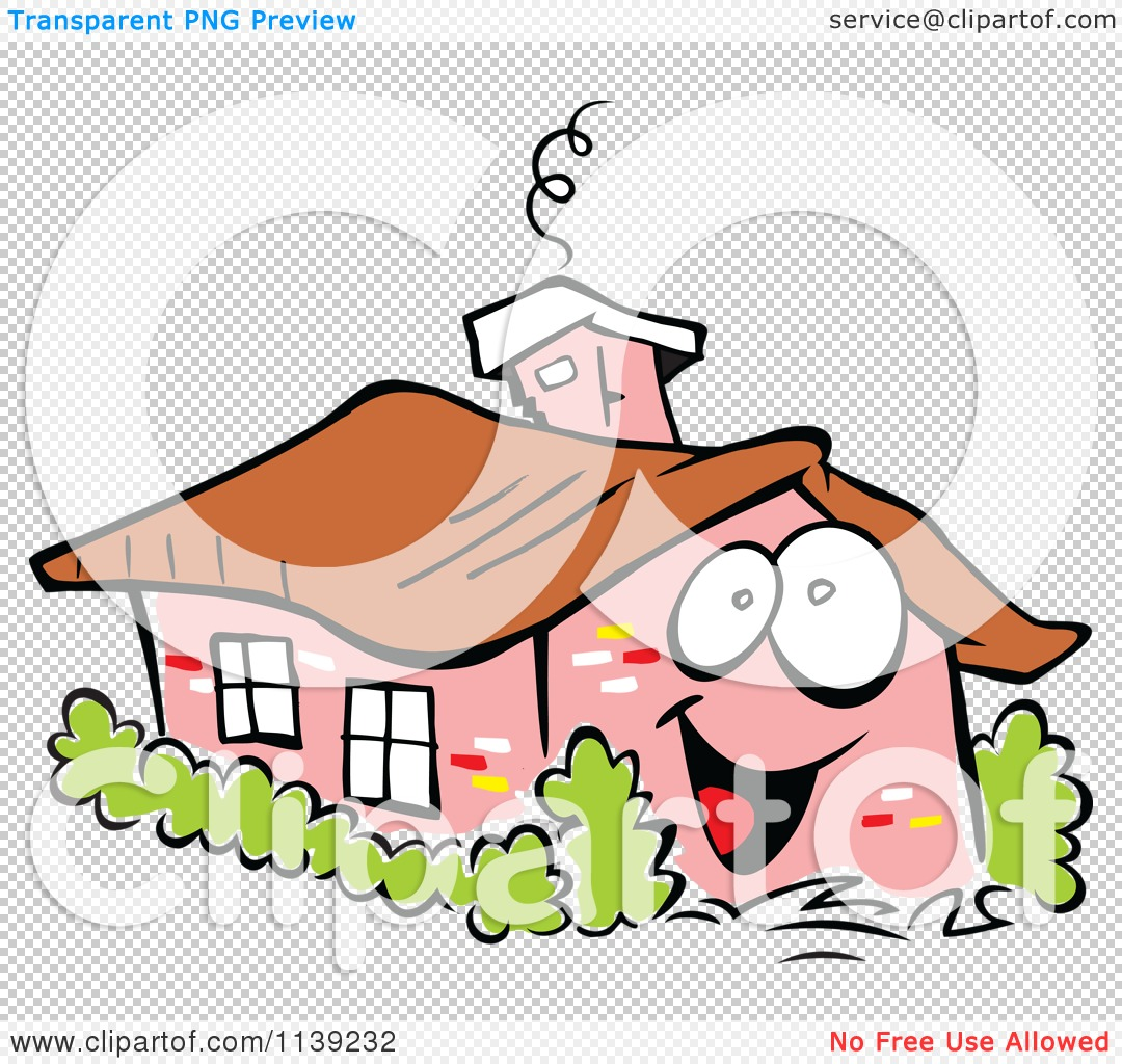 Cartoon Of A Happy Brick Home And Shrubs   Royalty Free Vector ...