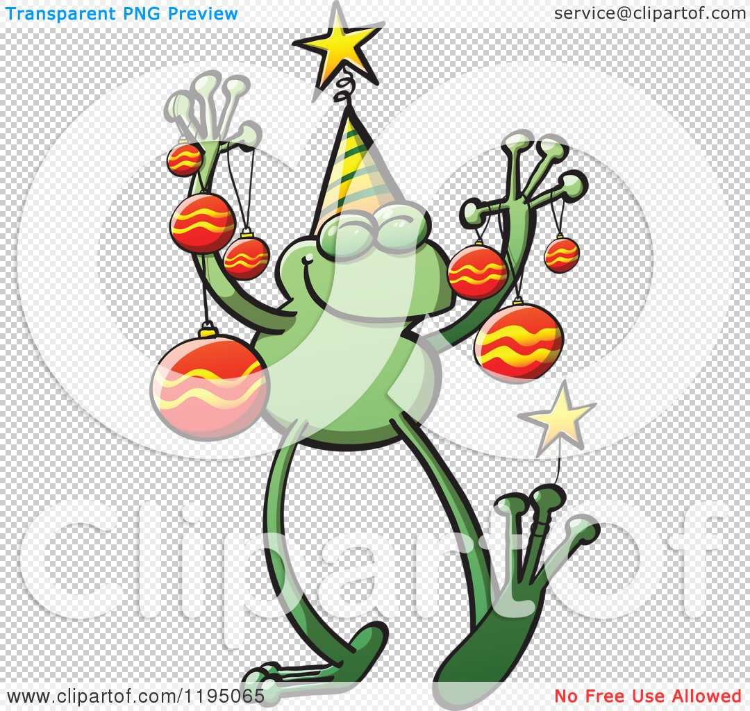 Cartoon of a Happy Christmas Frog with Ornaments - Royalty Free ...