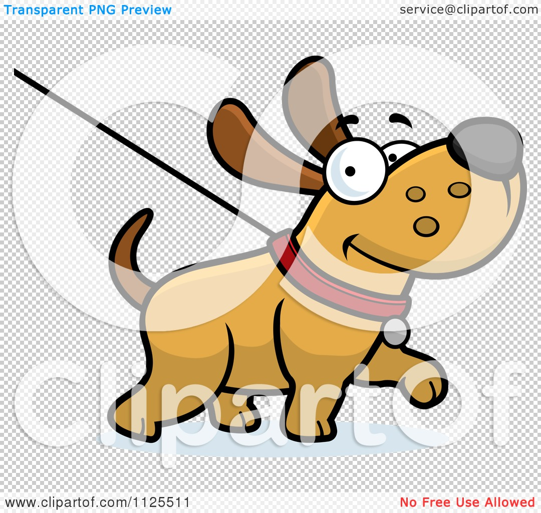 Cartoon Of A Happy Dog Being Washed On A Leash - Royalty Free ...