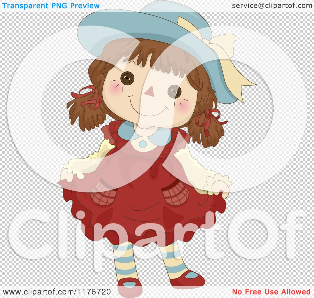 Cartoon of a Happy Female Rag Doll Doing a Curtsy - Royalty Free ...
