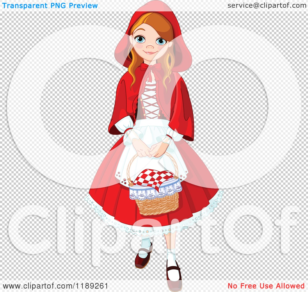 cartoon of a happy dressed as red riding hood carrying a