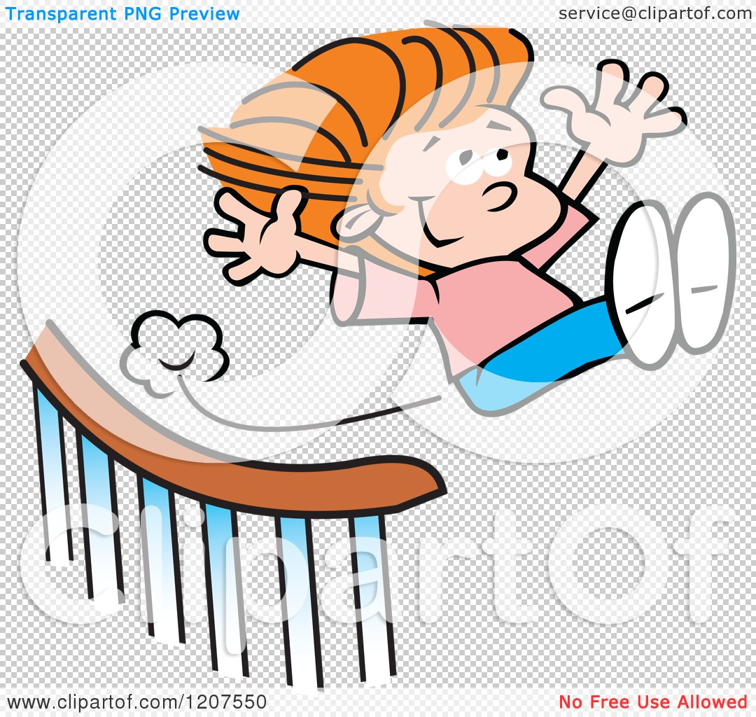 Cartoon Of A Happy Girl Sliding Down And Flying Off A