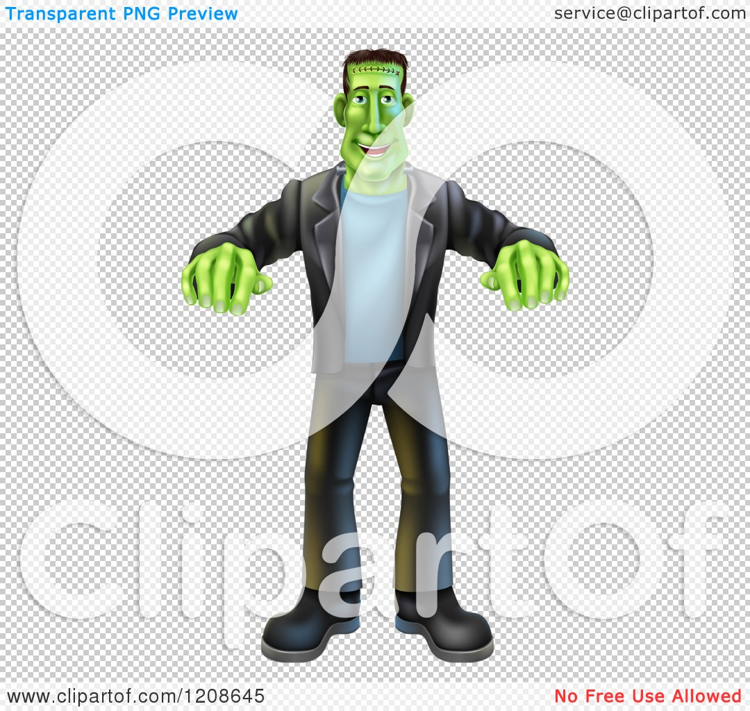Cartoon Of A Happy Halloween Frankenstein Walking With His Arms Out