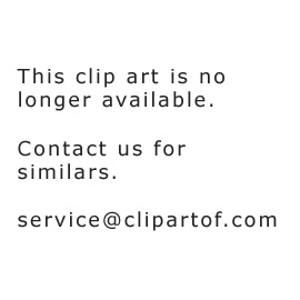 Cartoon of a Hot Air Balloon with Red and Blue Stripes - Royalty ...