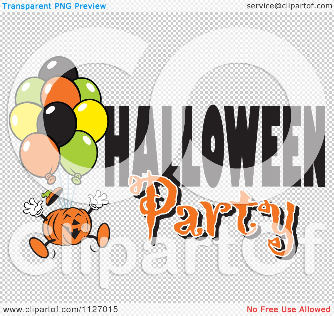 Cartoon Of A Jackolantern Pumpkin With Balloons And Halloween ...