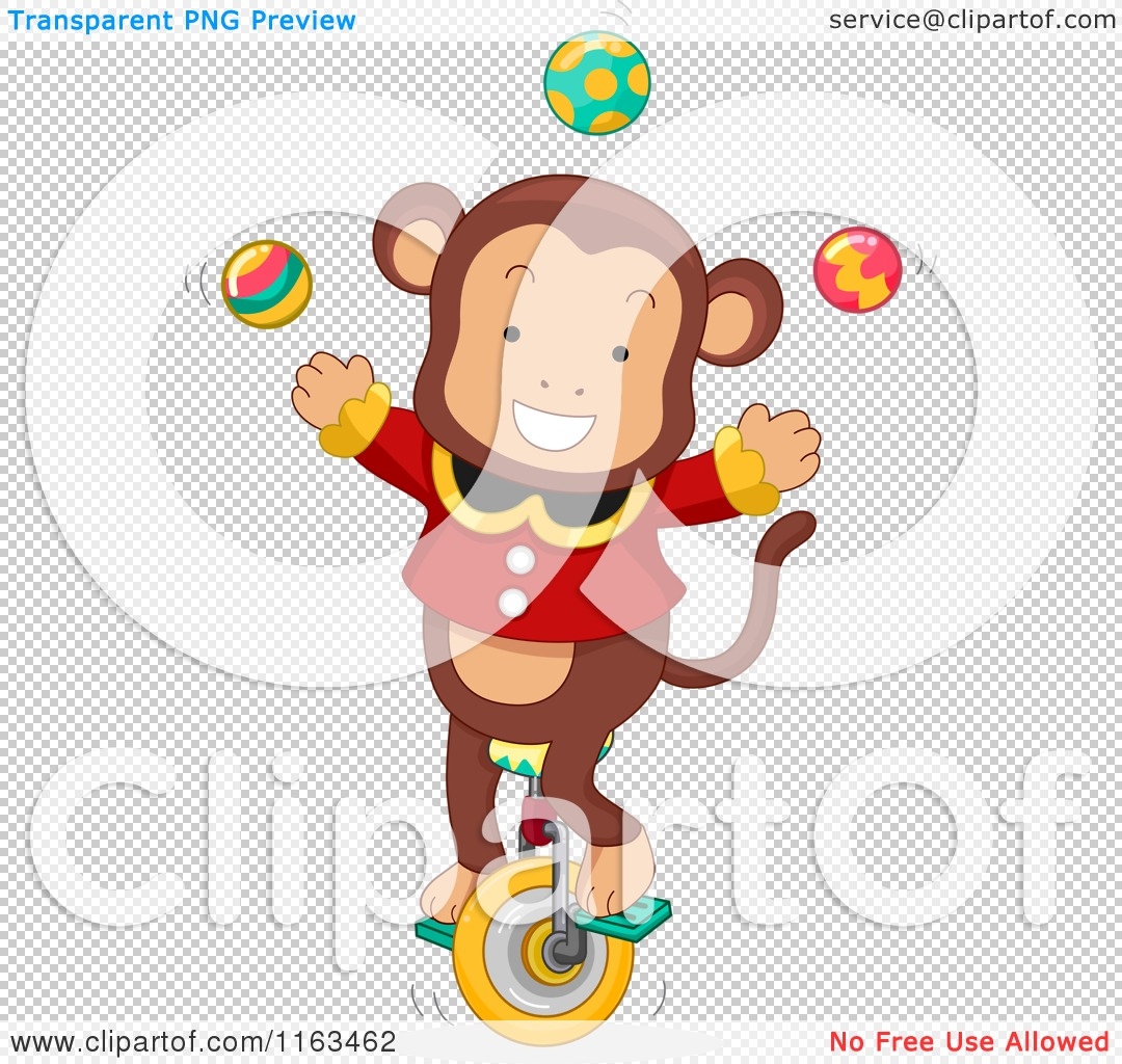 Cartoon Of A Male Circus Monkey Juggling On Unicycle Royalty Free