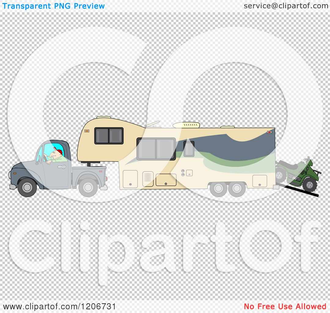Cartoon of a Man Driving a Pickup Truck and Hauling a Trailer and ...