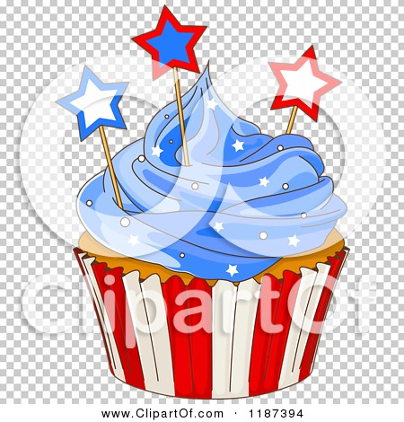Cartoon Of A Patriotic Fourth Of July Cupcake With Blue