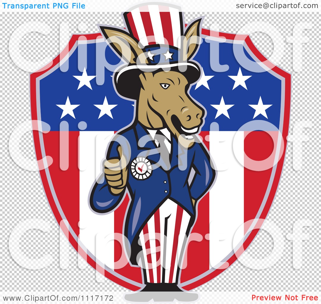 Cartoon Of A Retro Democratic Party Donkey Uncle Sam Holding A Thumb