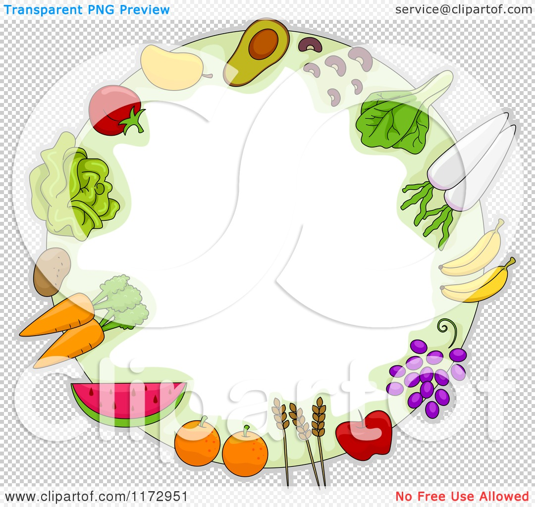 Cartoon of a Round Frame of Fruit Vegetables and Grains ...