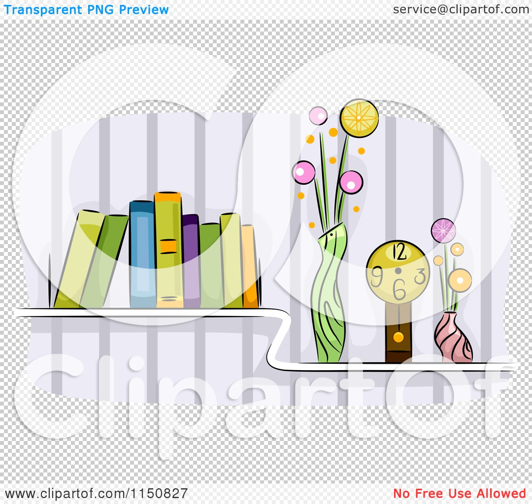 Cartoon of a Shelf of Books Vases and a Clock in a Living Room ...