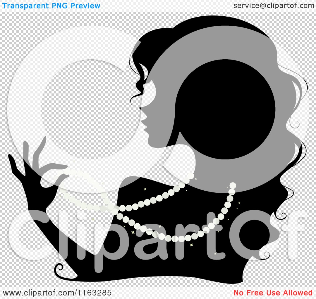 Cartoon Of A Silhouetted Woman Wearing A Pearl Necklace