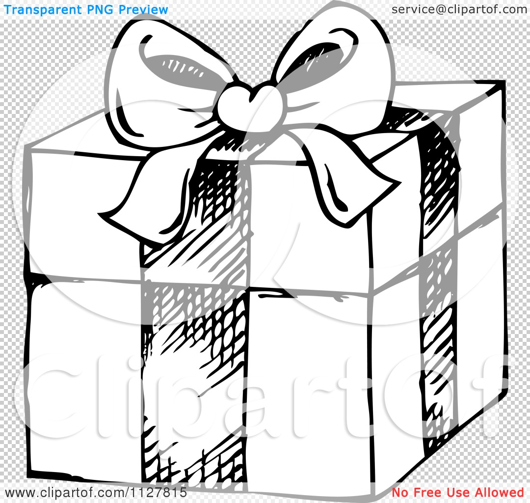 Cartoon Of A Sketched Black And White Christmas Gift Box - Royalty ...