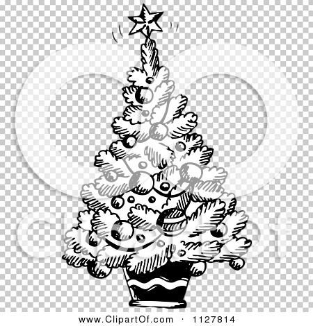 Cartoon Of A Sketched Black And White Christmas Tree Royalty Free