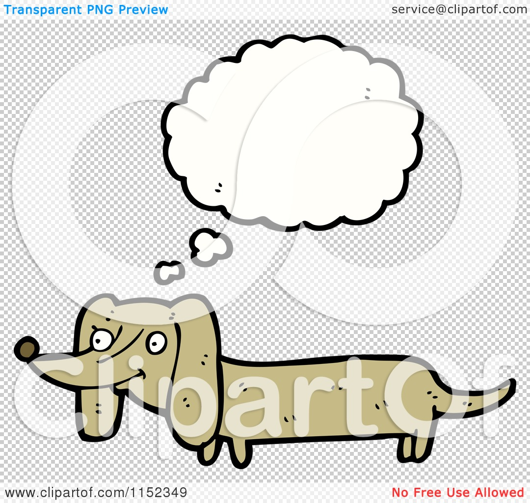 Cartoon of a Thinking Dachshund Dog - Royalty Free Vector Illustration