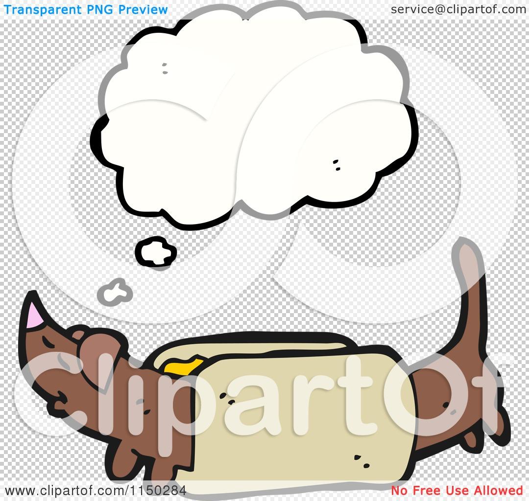Cartoon Of A Thinking Weiner Dog In A Bun Royalty Free