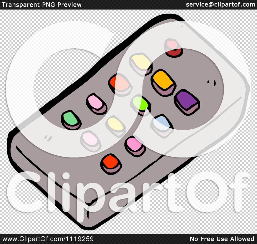 Cartoon Of A Tv Remote Control With Colorful Buttons - Royalty ...