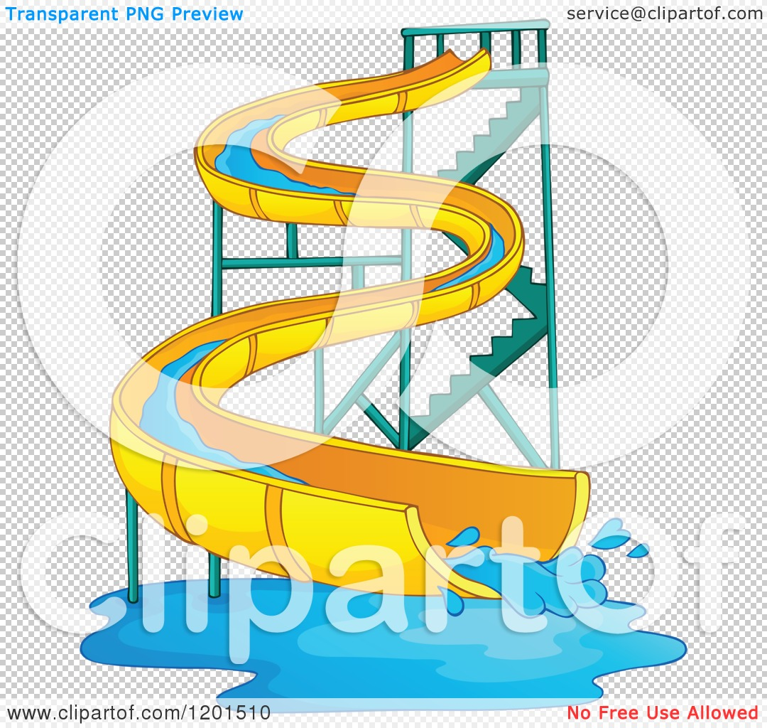 Inflatable Slide Clip Art: Cartoon Of A Wavy Water Park Slide
