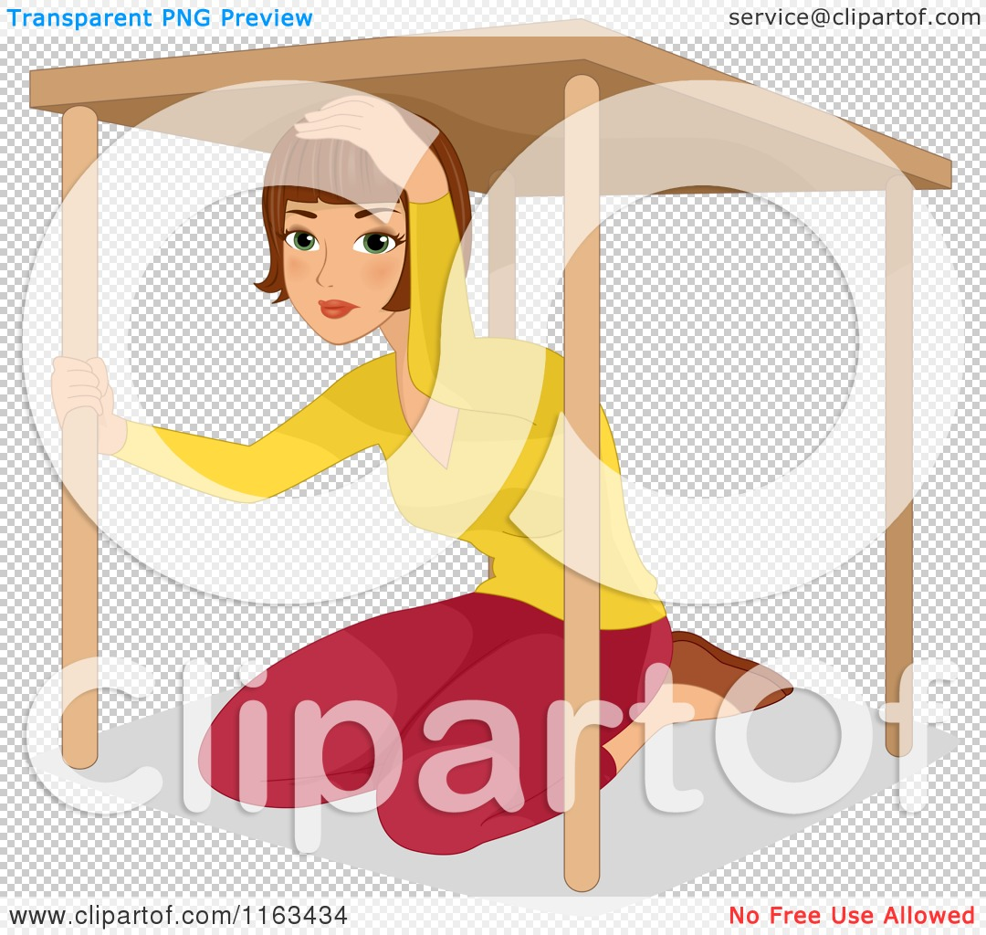 Cartoon of a Woman Under a Table During an Earthquake ...