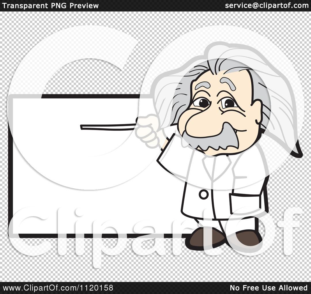 Cartoon Of An Albert Einstein Scientist Sign Or Logo 1 - Royalty ...