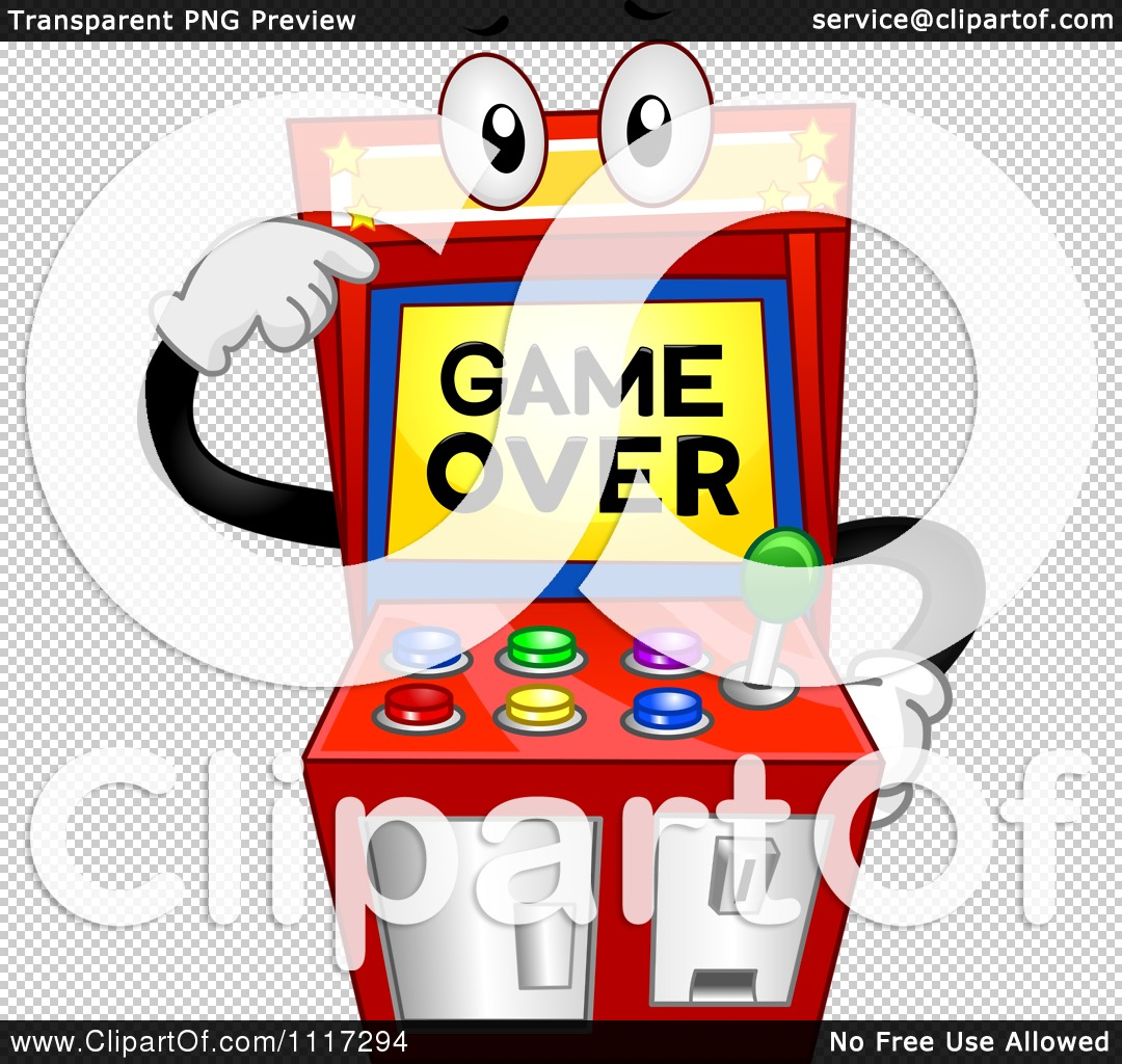 Cartoon Of An Arcade Video Game Pointing To Its Over Screen - Royalty Free ...