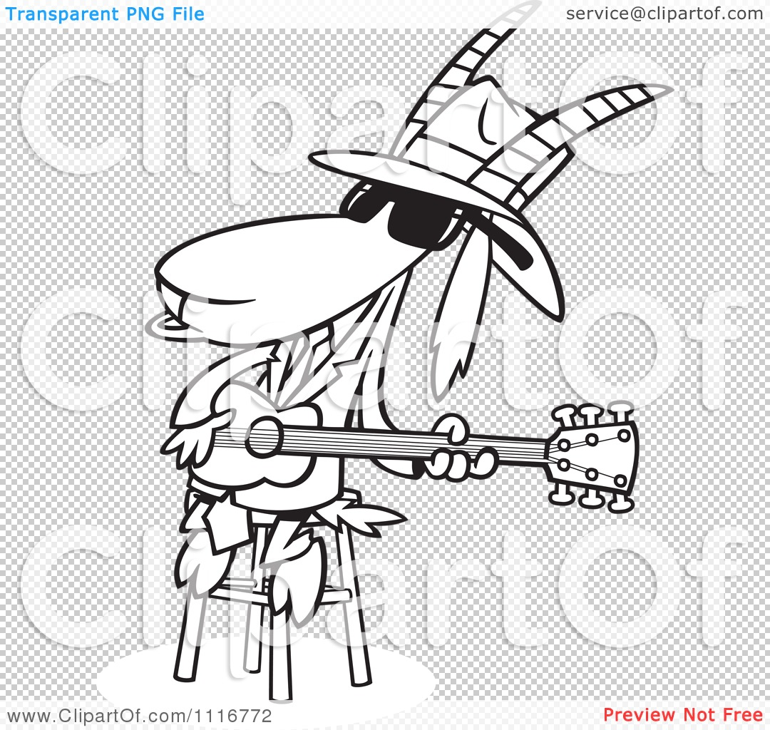 Cartoon Of An Outlined Blues Goat Musician Playing A Guitar ...