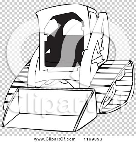 Cartoon Of An Outlined Bobcat Skid Steer Loader Royalty Free Vector Clipart By Djart 1199893