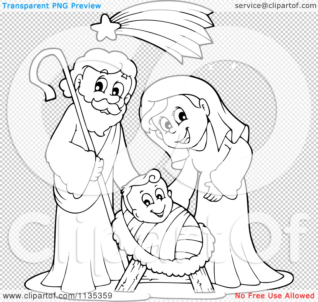 cartoon of an outlined joseph virgin mary and baby jesus nativity