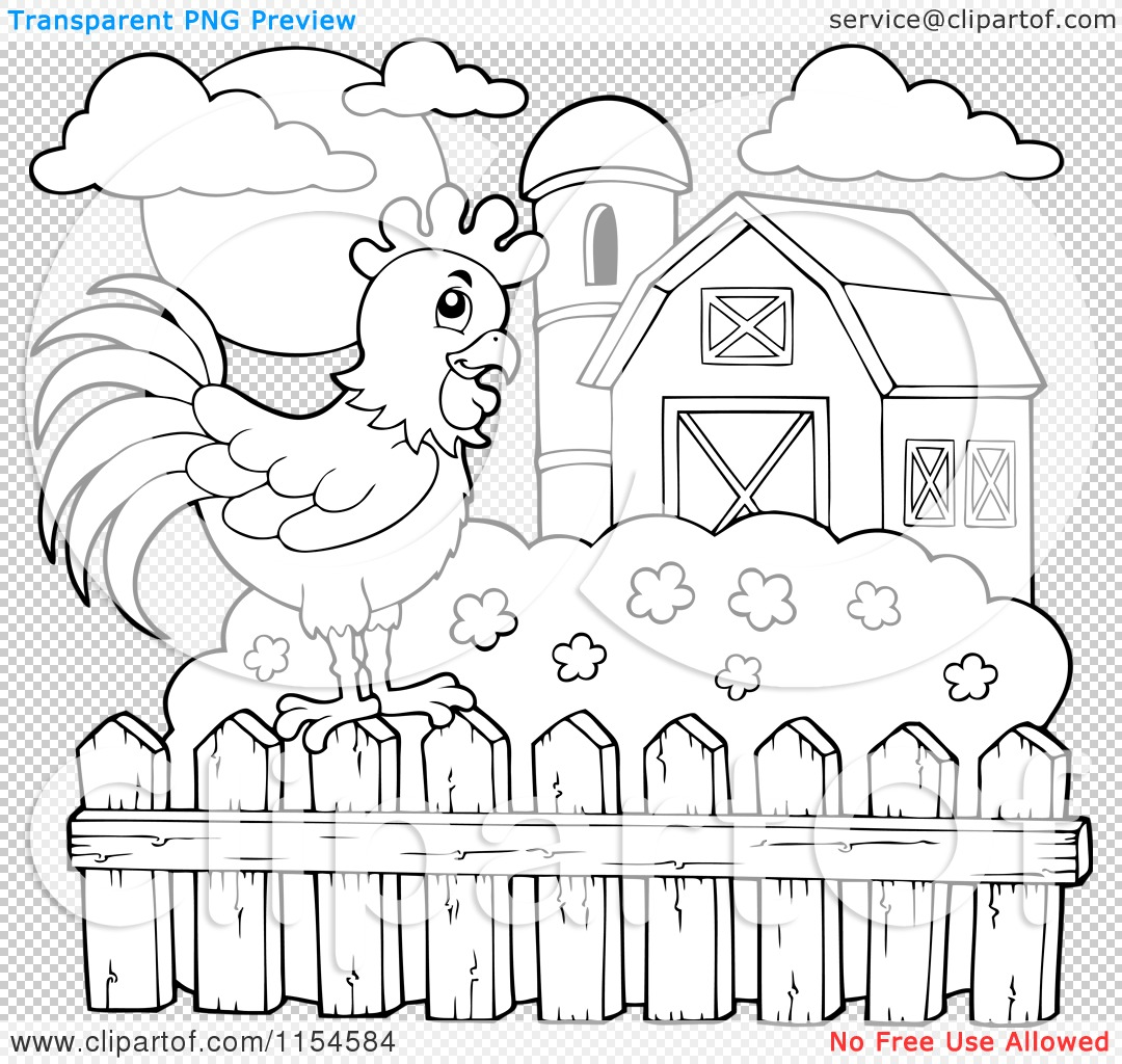 Farm Fence Clipart cartoon of an outlined rooster on a farm fence - royalty free