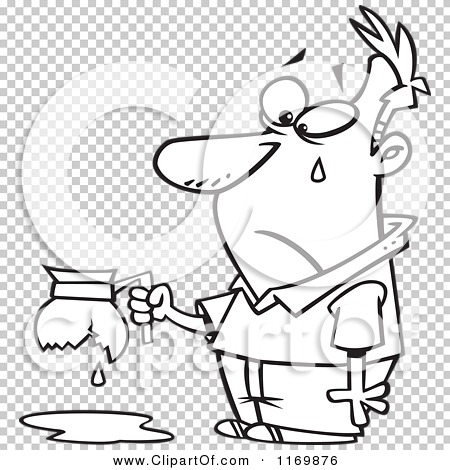 Cartoon Of An Outlined Tearing Man Holding A Broken Coffee Pot