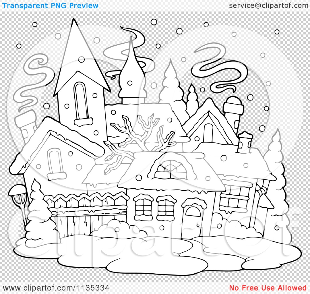 Cartoon Of An Outlined Winter Village With Snow
