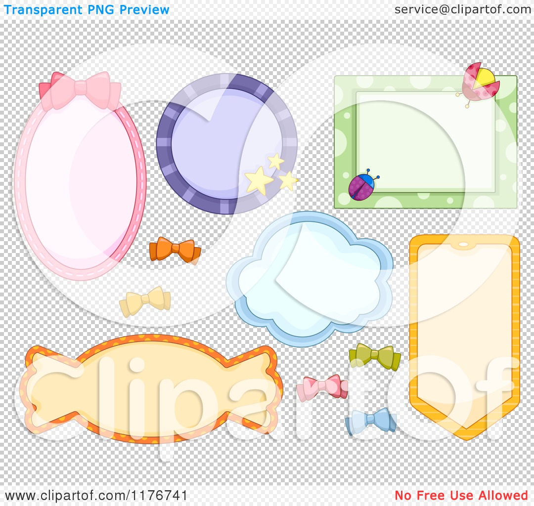 Cartoon of Colorful Frames with Bows Stars and Bugs - Royalty Free ...