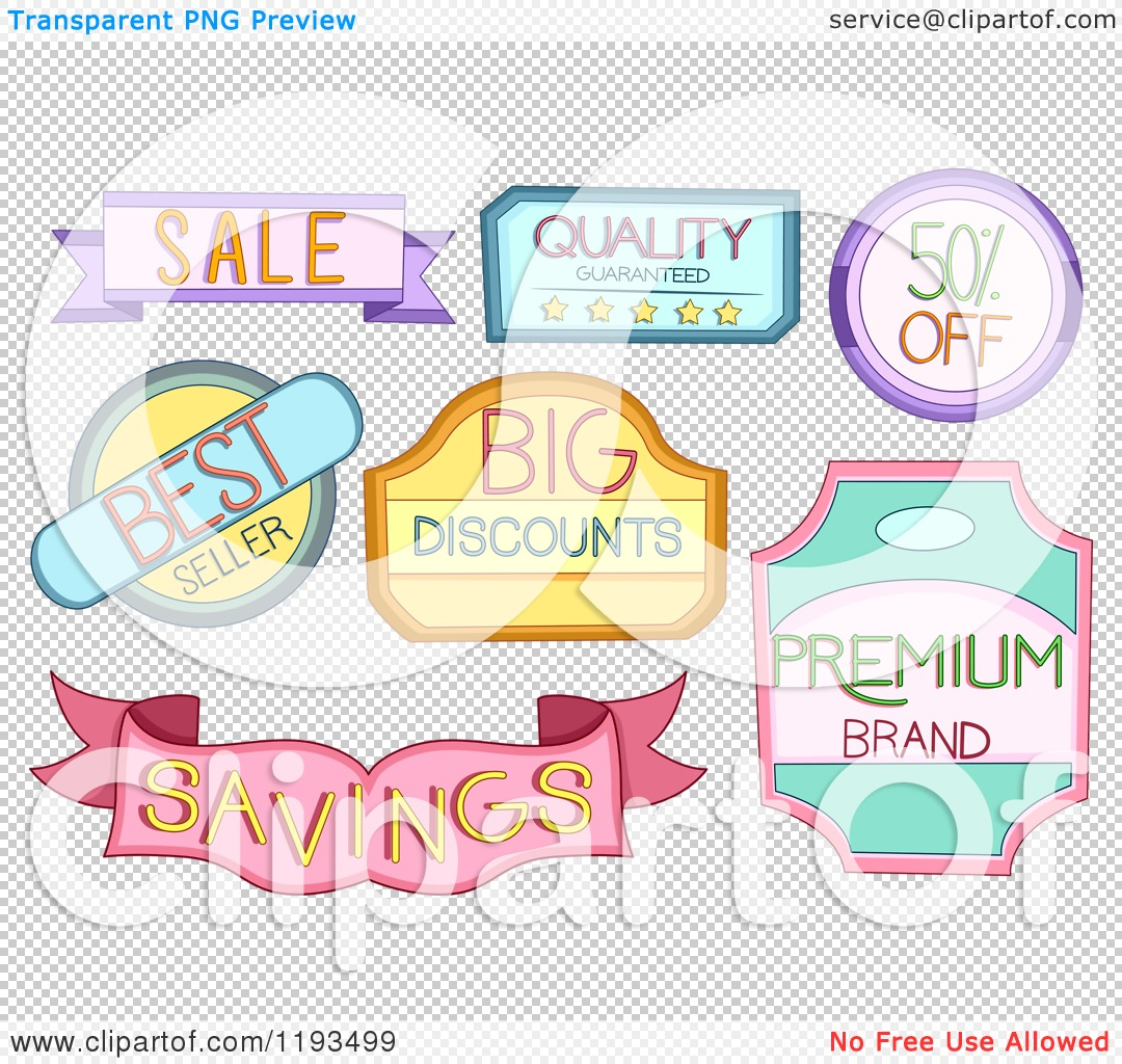Cartoon of Colorful Retail Store Product Labels - Royalty Free ...