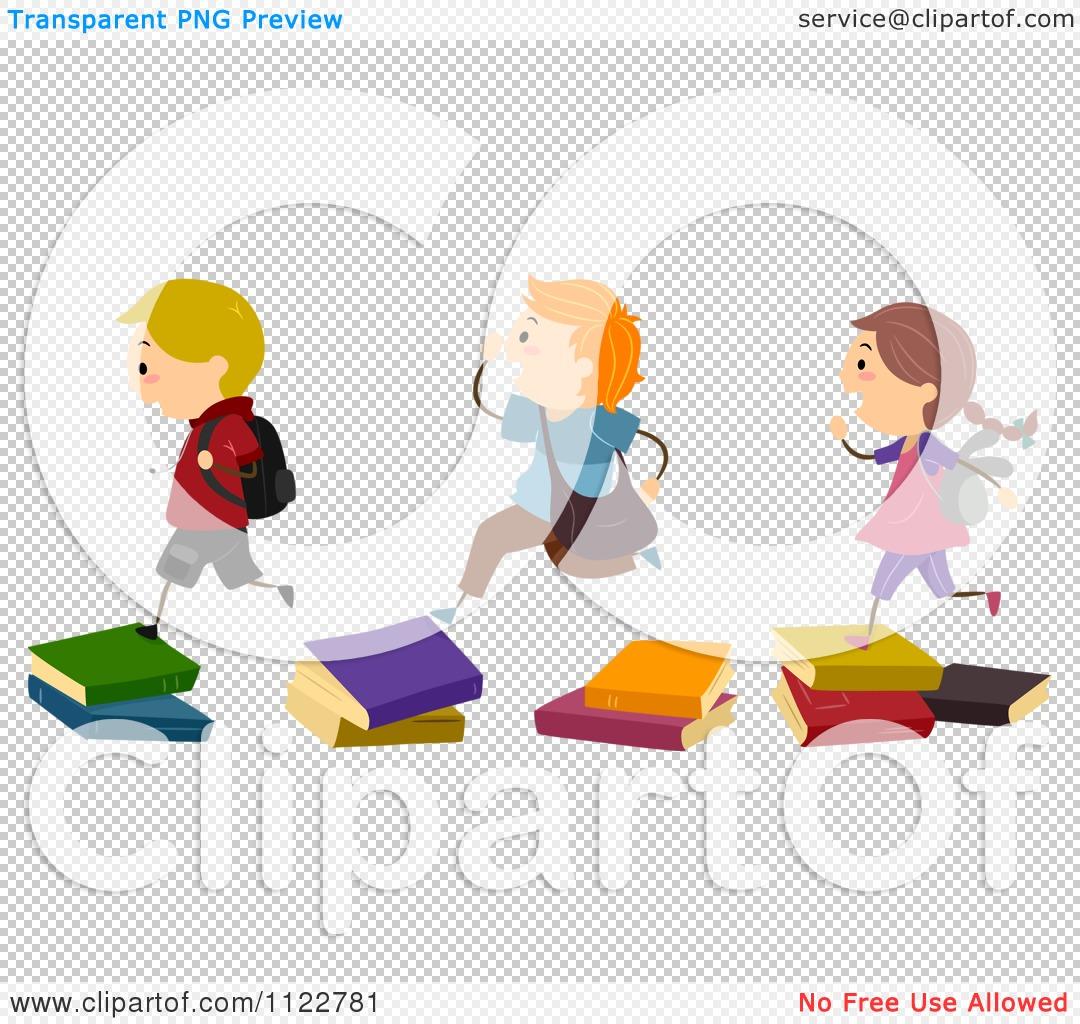 Stepping Stones Clip Art : Cartoon of energetic school children running over