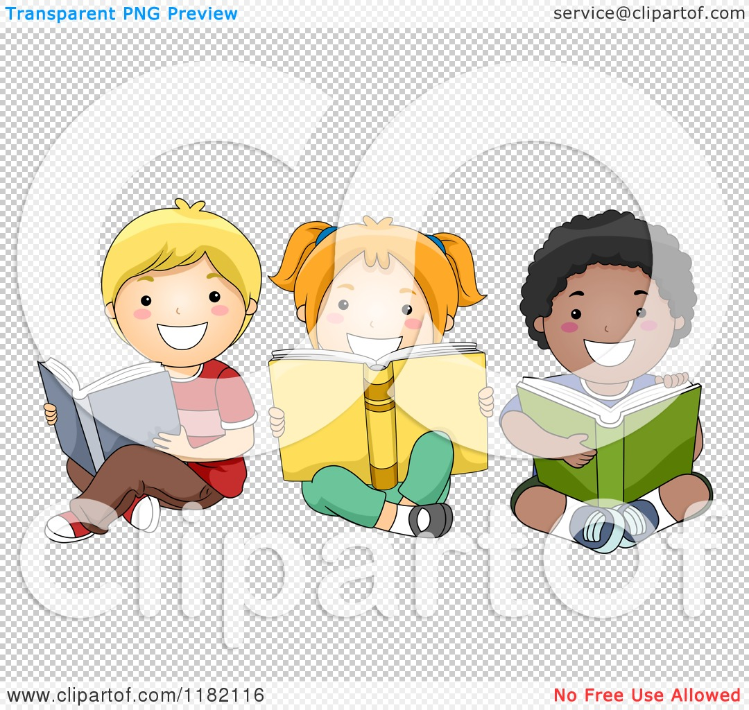 Cartoon of Happy Diverse Children Reading Books on the ...