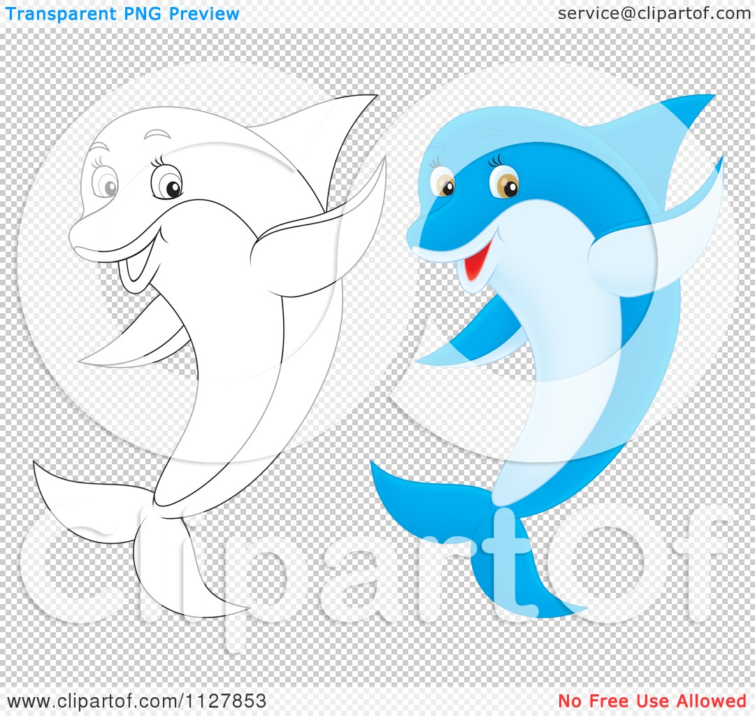 Cartoon Of Outlined And Colored Cute Dolphins Jumping And Waving ...