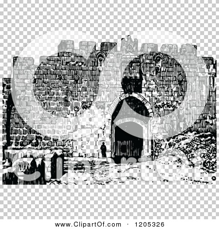 Cartoon of Vintage Black and White St Stephens Gate Jerusalem ...