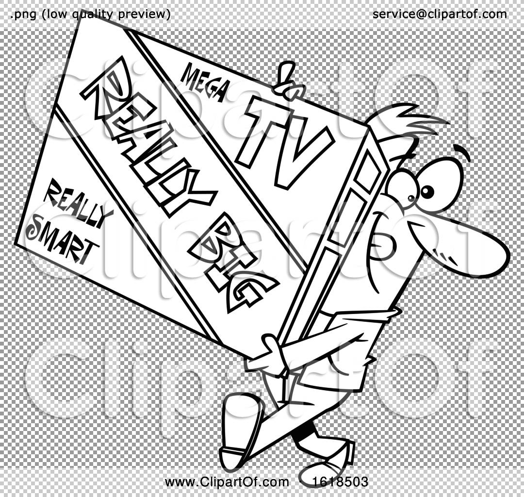 cartoon outline man carrying a really big tv by toonaday 1618503 Big Screen TV Sales file has a