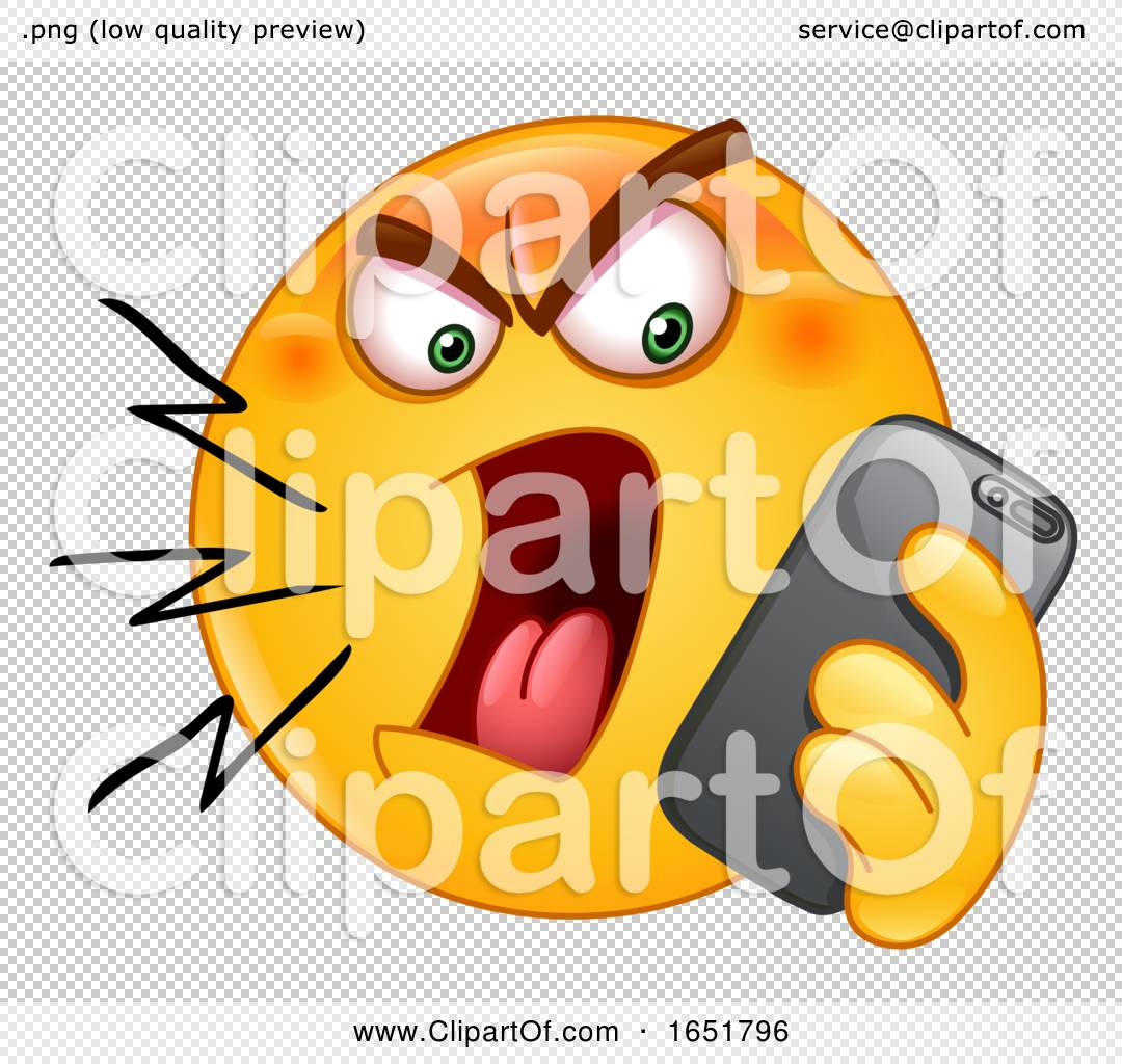 Cartoon Yellow Smiley Emoji Screaming at a Cell Phone by