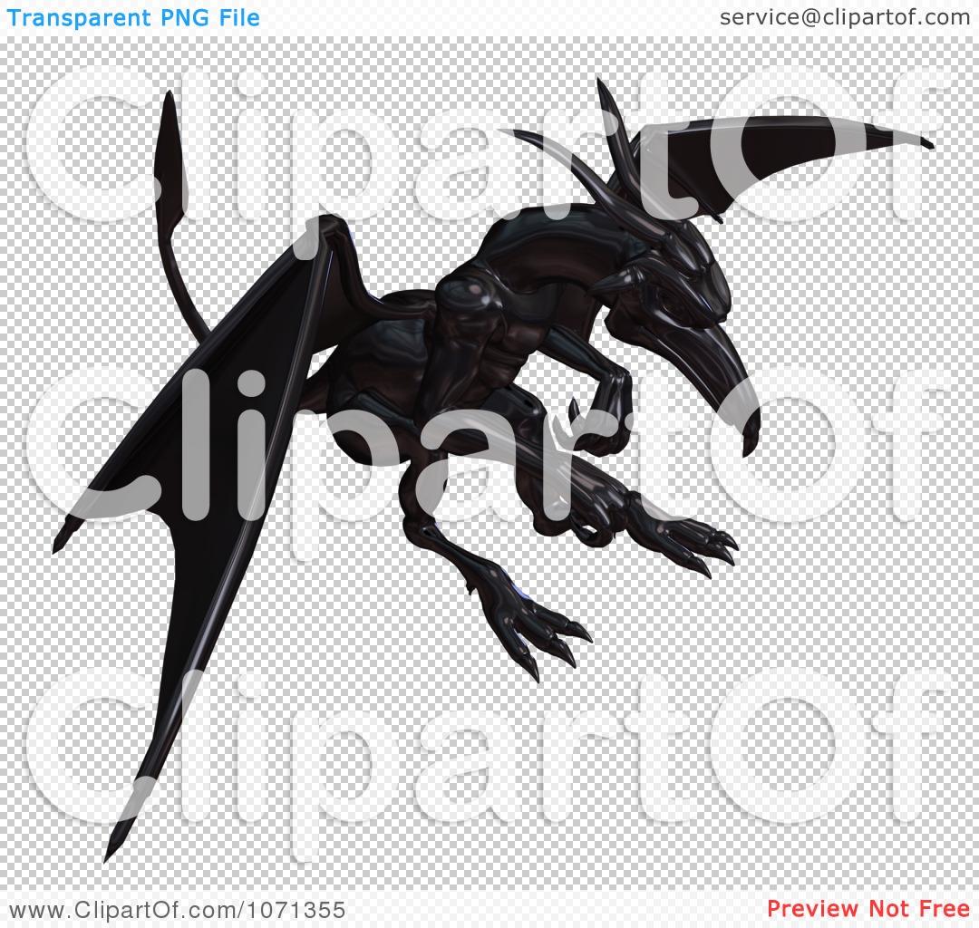 Clipart 3d Fantasy Black Metallic Gargoyle In Flight 1 - Royalty ...
