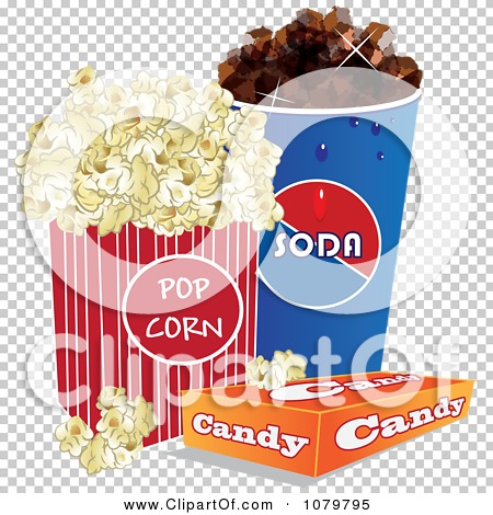 Clipart 3d Fountain Soda Box Of Candy And Movie Popcorn ...