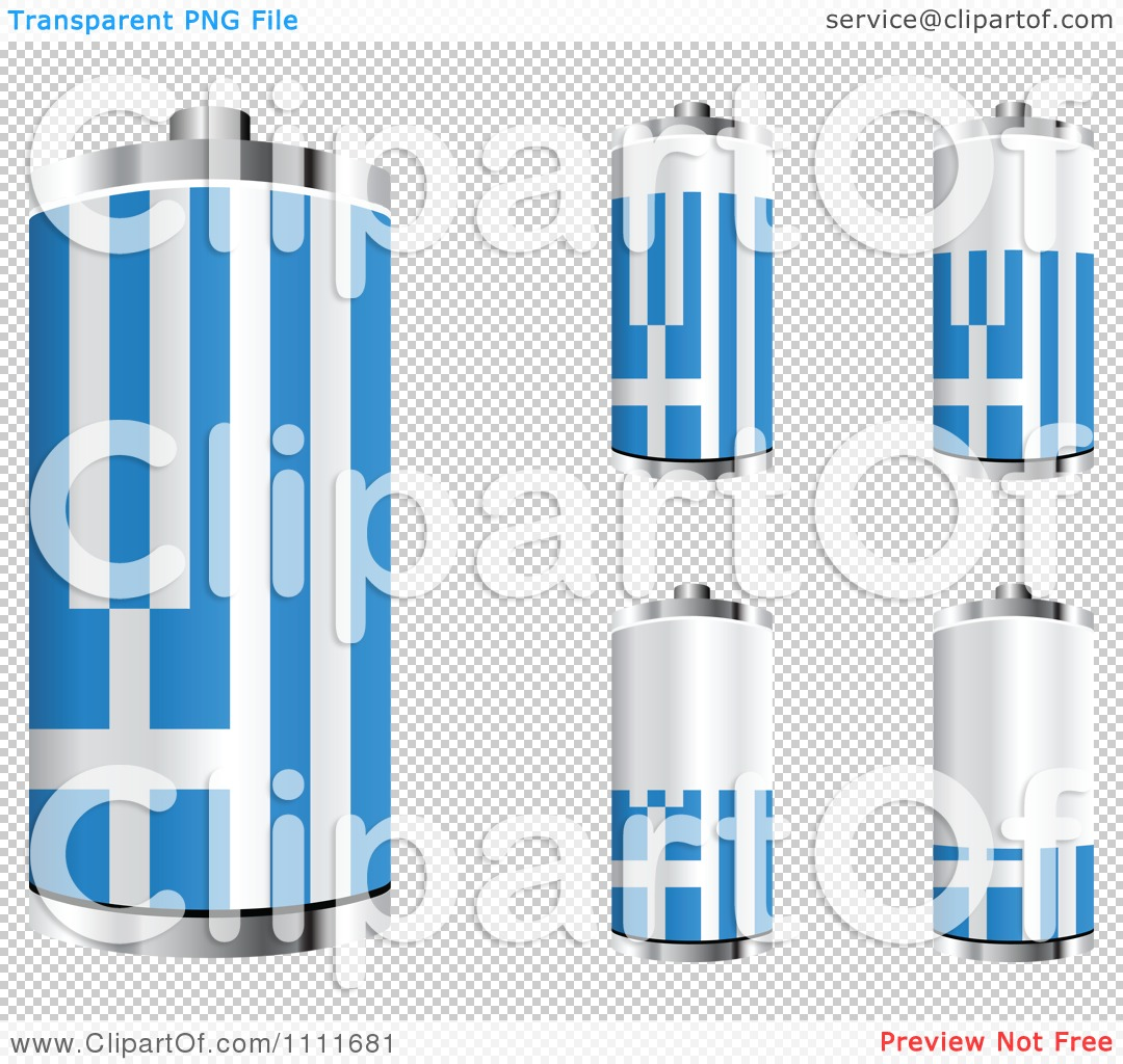 clipart 3d greek flag batteries at different charge levels