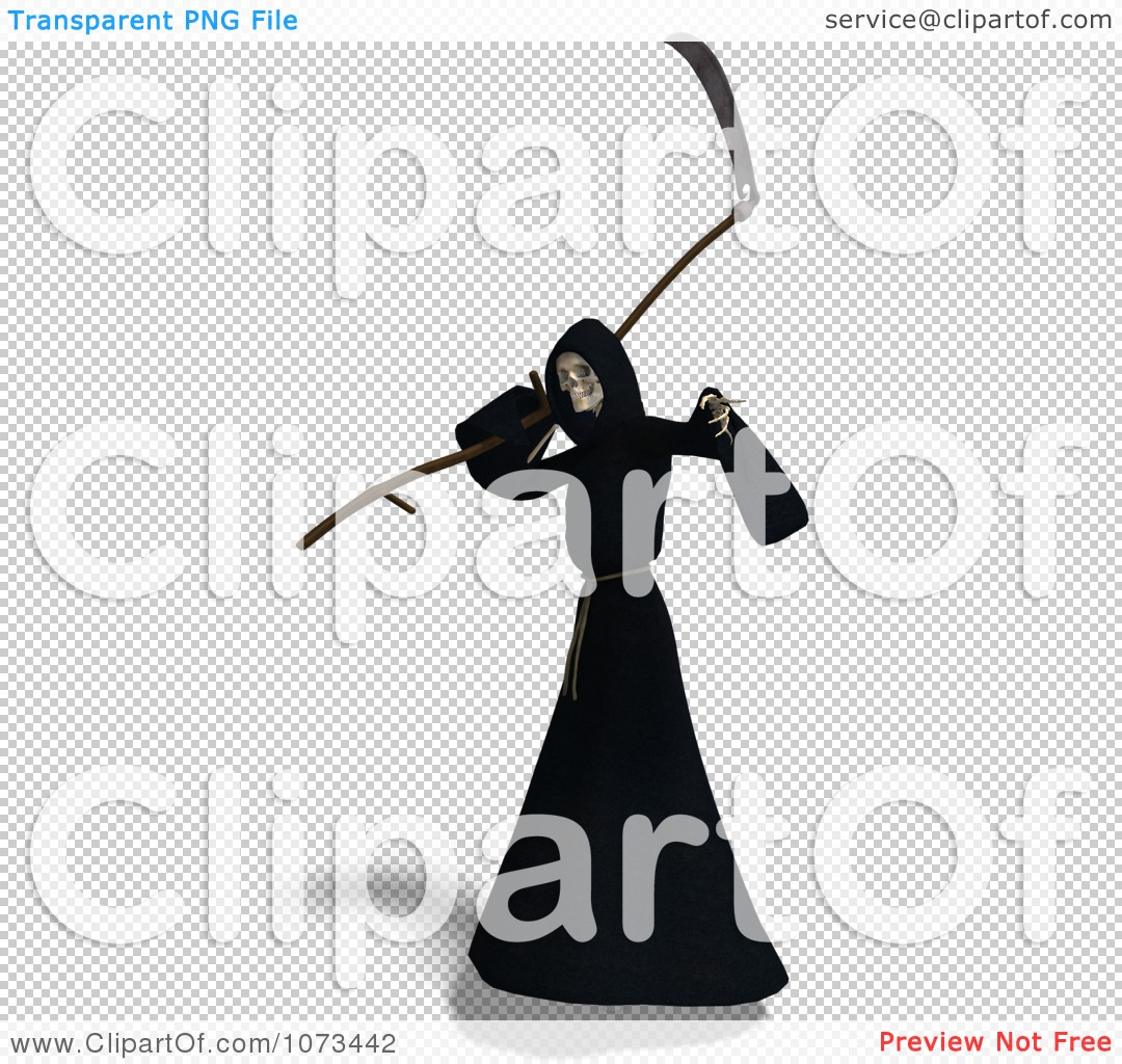 Clipart 3d Grim Reaper Of Death Swinging A Scythe 6 Royalty Free Cgi