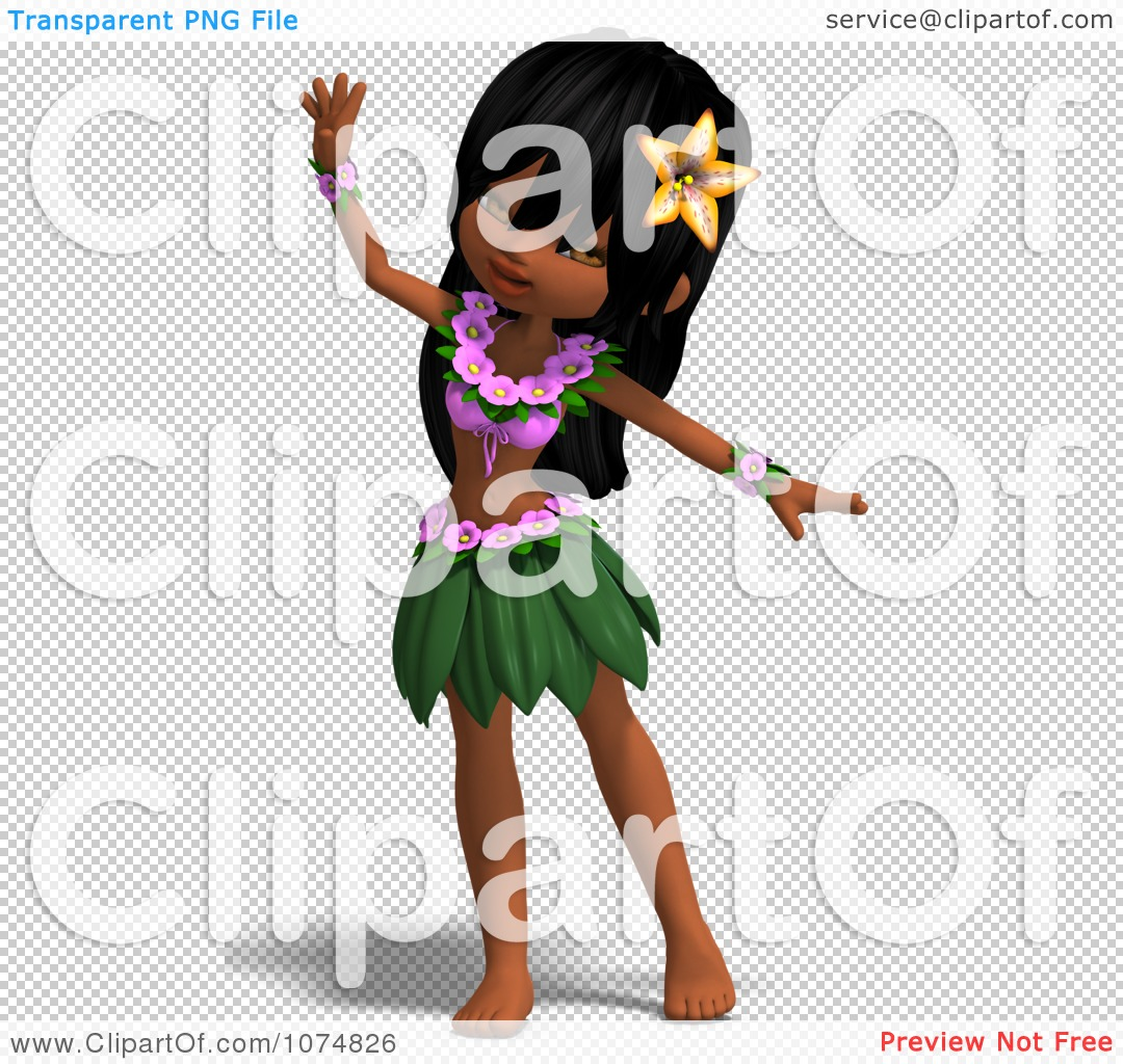 Clipart 3d Hula Dancer Girl 1 - Royalty Free CGI Illustration by ...