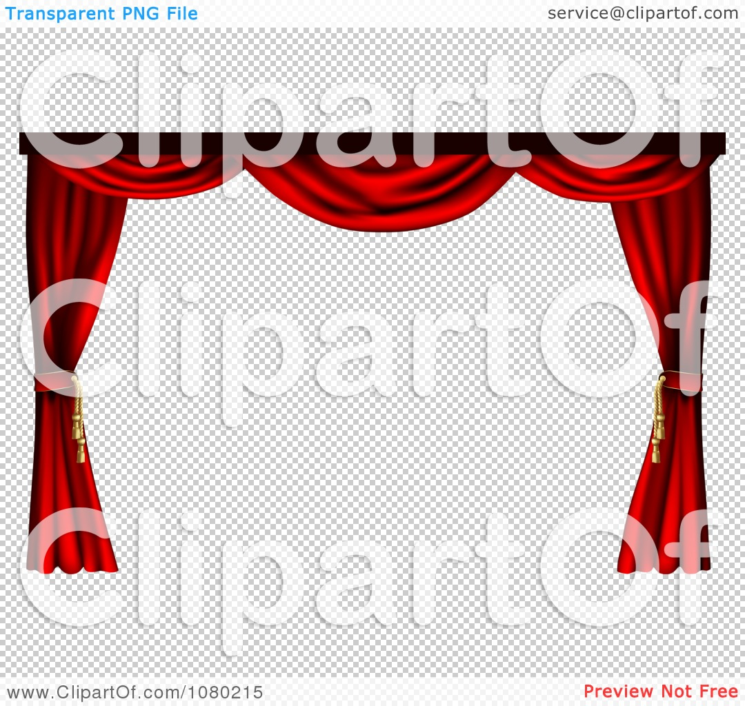 Clipart 3d Red Theater Stage Curtains Pulled To The Sides