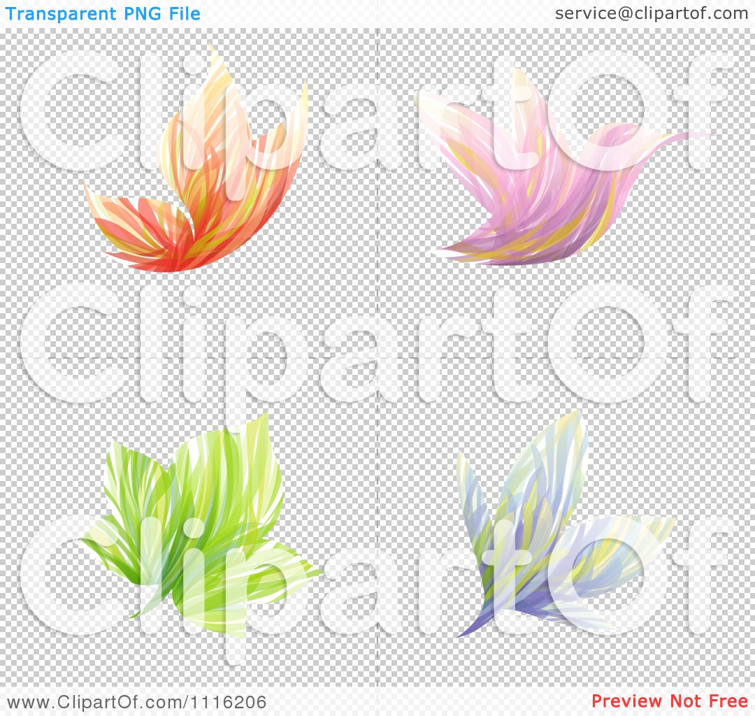 Clipart Abstract Butterfly Bird Flower And Leaf Icons - Royalty ...