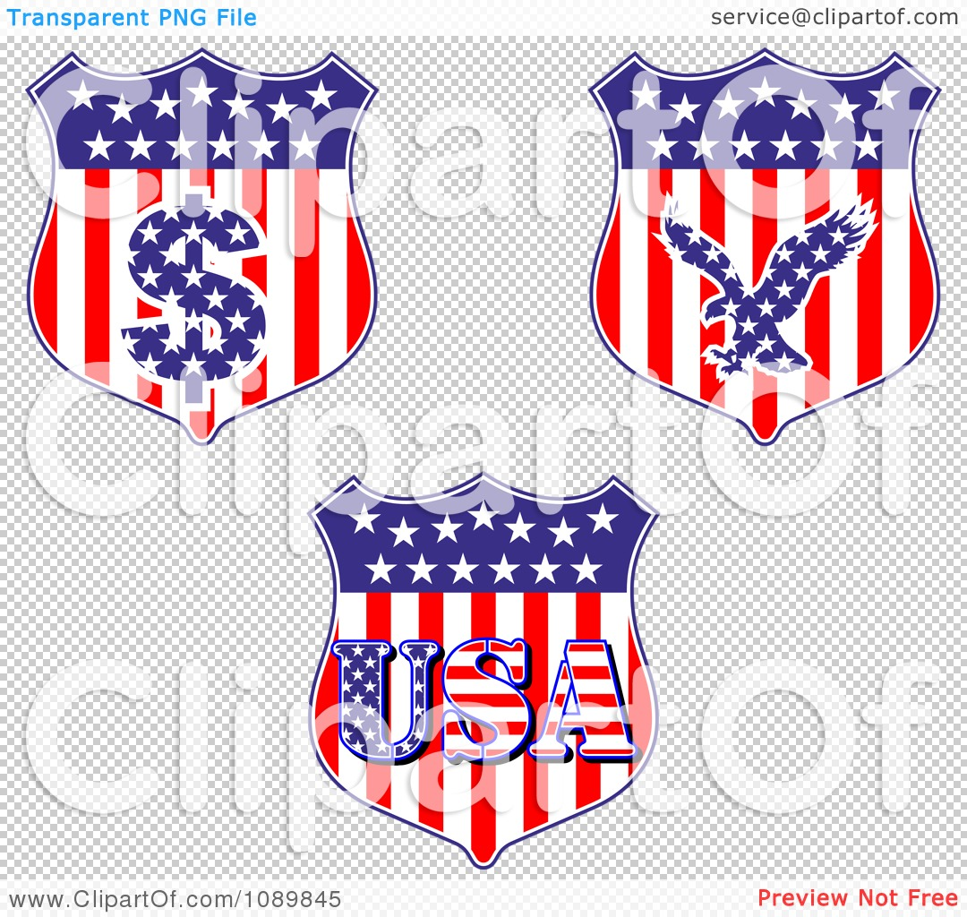 clipart american flag shields with dollar symbol eagle and