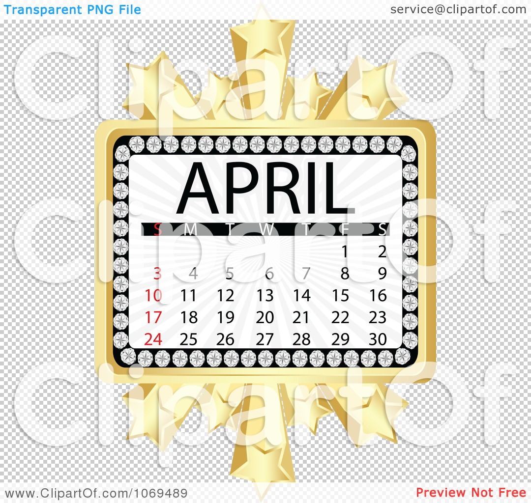 Clipart April Marquee Calendar - Royalty Free Vector Illustration ...