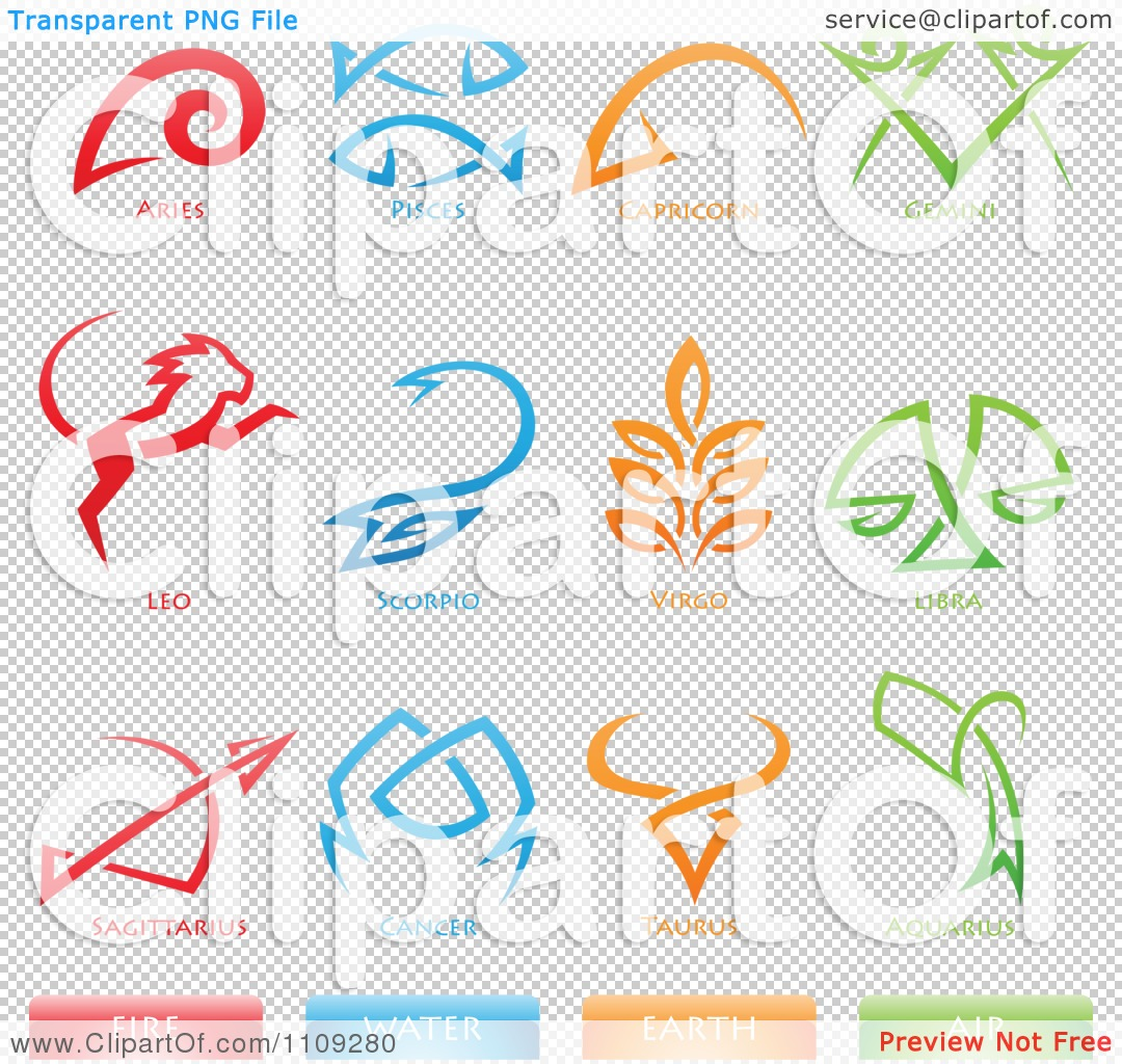 Clipart Astrology Star Signs And Fire Water Earth Air Elements Icons ...