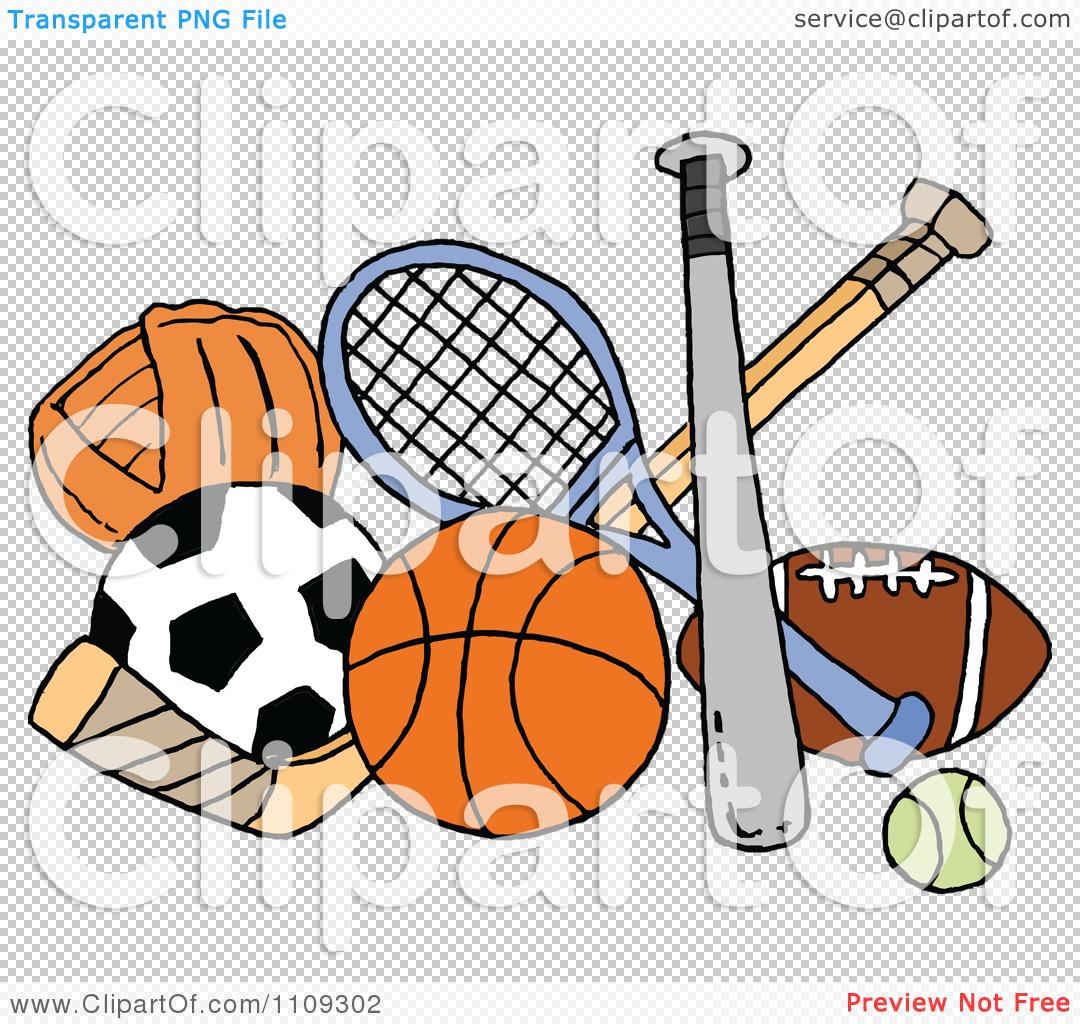 Clipart Baseball Soccer Basketball Hockey Tennis And Football Sports